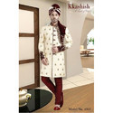 Embroidered Maroon Exclusive Wedding Sherwani