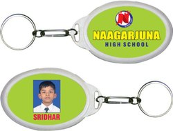 Sticker Plastic Oval Keychain