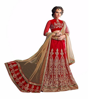 ba15b02ee7 AASVAA Womens Stylish Red Embroidered Lehenga Choli at Rs 3713.00 ...