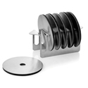 Stainless Steel Round Coasters with Holder with Rubber Absorbent Foam at the Base