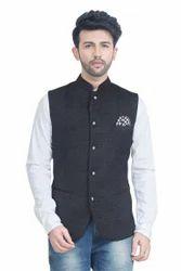 Black Velvet Jute Style Nehru Jacket Waistcoat