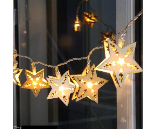 best loved 2def9 4008a Led Wooden Star Shape Fairy Lights
