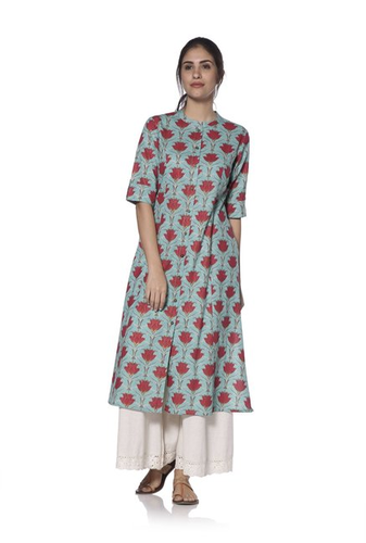 3c6968245 Utsa By Westside Turquoise Floral Print Kurta - Dishita Fashion ...