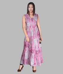 Printed Cotton Full Length Dress