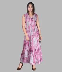 Printed Cotton Full Length Dress
