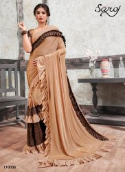 Designer party wear  lycra frill saree