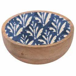 Enamel Print Mango Wood Bowl