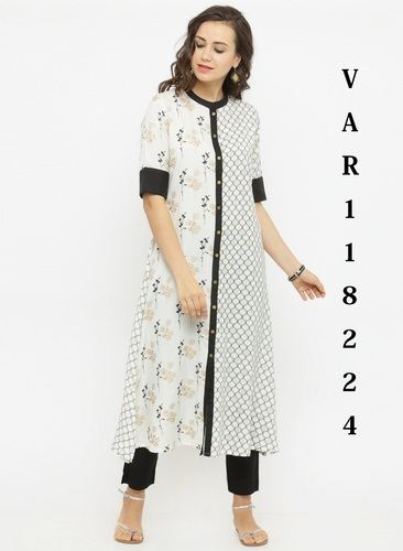 fc42d362f5 Cotton Long Kurtis Palazzos Daily Wear Sets - Rayon Designer Kurtis ...