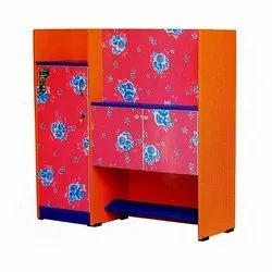 Orange And Pink Double Door Wooden Storage Cabinet, for Home