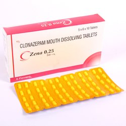 ZENA 0.25 Clonazepam Mouth Dissolving Tablets, Packaging Size: 5X6X10, Prescription