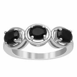 Trio Stone 1.30 Ct Oval Cut Black Onyx 925 Sterling Silver Eternity Women Ring
