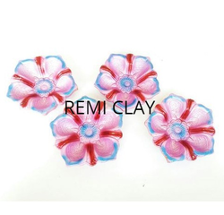 4 Decorative Clay Flower Shape Diya Set