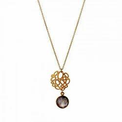 Labradorite Natural Round Shape Elegant Favourite Charm Womens Gold Plated Gemstone Pendant