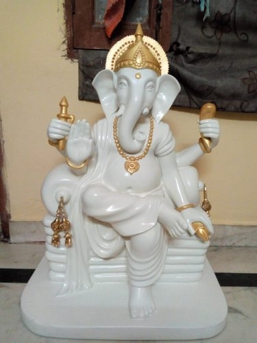 White Varied Rawsome Shack Ganesh Ji 3 Ft Fiber Glass Statue