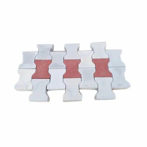 Red And Grey Zigzag Interlocking Paver Block
