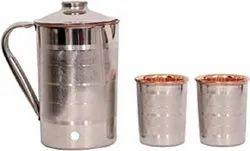 Homendeco Polished Copper Steel Jug Set