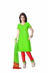 Parrot Green And Red Color Fancy Bandhej Gaji Silk Bandhani Suit