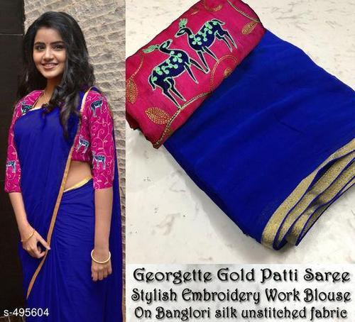 0e46e12516 Georgette Plain Saree With Embroidery Unstitched Blouse, Rs 270 ...