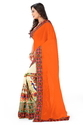 Embroidered Designer Orange And Off White Color Saree