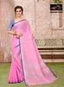 Sangini Pink Pure Linen Cotton Saree