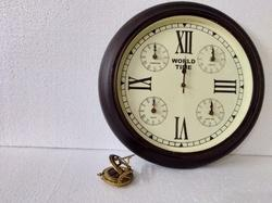 Antique Look Wooden Wall Clock With World Time