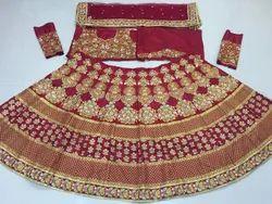 Thankar Satin Silk Heavy Embroidered Latest Bridal Lehenga, Age: 20-40