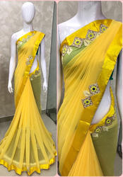 Georgette Yellow Saree