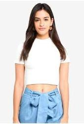 Women Cotton Half Sleeves Plain Crop Top