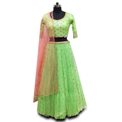 Chiffon White Croptop Lehenga with Contrast Dupatta Wedding Wear