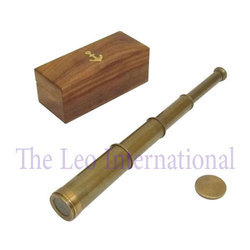 Brass Nautical Telescope With Wooden Box