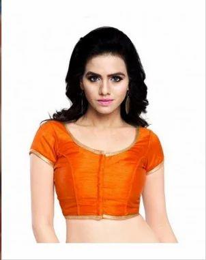 927226c447f06 Orange Raw Silk Kanchoo Round Neck Womens Blouse