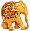 Wooden Jali Undercut Elephant Statue