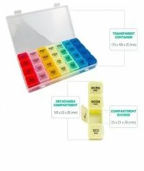 Flovein Plastic Weekly Pill Box Tablet Organizer, For Pharmaceutical