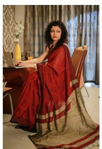 0b323c49c Kora Cotton Maroon Color Banarasi Saree