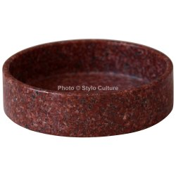Handmade Red Granite Decorative 5 Round Tray