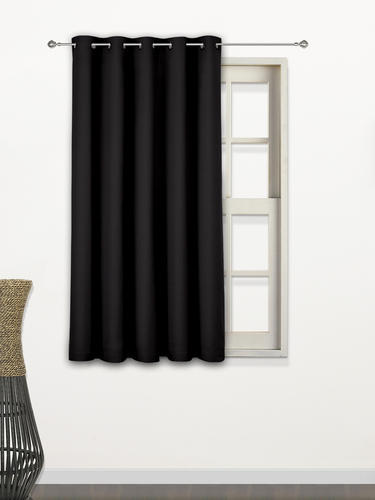 Kirtaar Solid Blackout Curtains 5 Feet Black Size