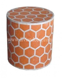Honeycomb Orange Bone Inlay Round Table
