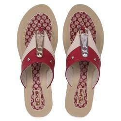 PU-SPM Cream and Red Ladies Party Wear Slippers
