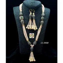 Cl Code Crystal & Antique Beads Marcasite Lotus Western Wear Designer Necklace & Earrings Set