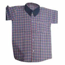 Cotton Boys Checkered School Uniform Shirts, Size: 18-30