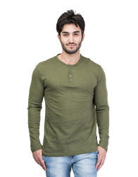 B-Green Fashionable Men Full Sleeves Henley Neck T-Shirt