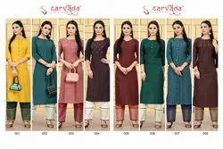 Sarvada Chahat Slub With Handwork Top And Pant Collection