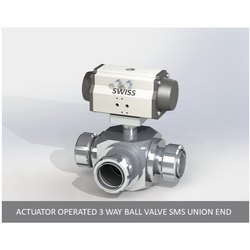 Actuator Operated 3 Way Ball Valve SMS Union End