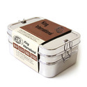Stainless Steel Square Double Decker Bento Lunch Box SS Plate