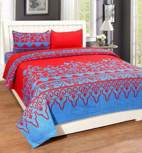 Double Bed Sheets With 2 Pillow Covers   3 D   Cotton Single