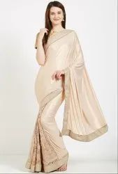 Ivory and Beige Stylish Designer Saree