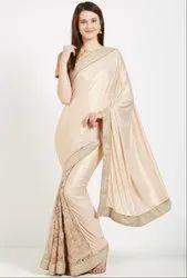 Ivory and Beige Stylish Designer Saree