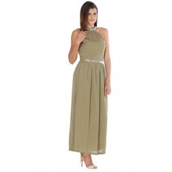 Plain Poly Crepe Woman Maxi Long Dress