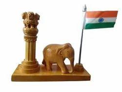 Wooden Handmade Ashoka Stamp with Elephant And Tiranga