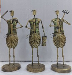 Art Decor Polished Decorative Iron Farmers Statue, For Decoration, Size/Dimension: 14 Inch (h)